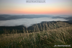 Thick fog covering the valleys in the Bieszczady Mountains