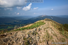 The rocky mountain trail of the Caryńska peak in the Bieszczady Mountains