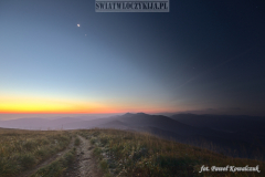 The night that gives way to the rising sun on the Smerek peak in the Bieszczady Mountains