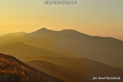 Bieszczady in warm colors of sunrise