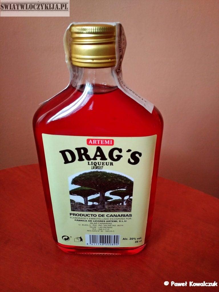 butelka czerwonego likieru z draceny El Drago - Wyspy Kanaryjskie