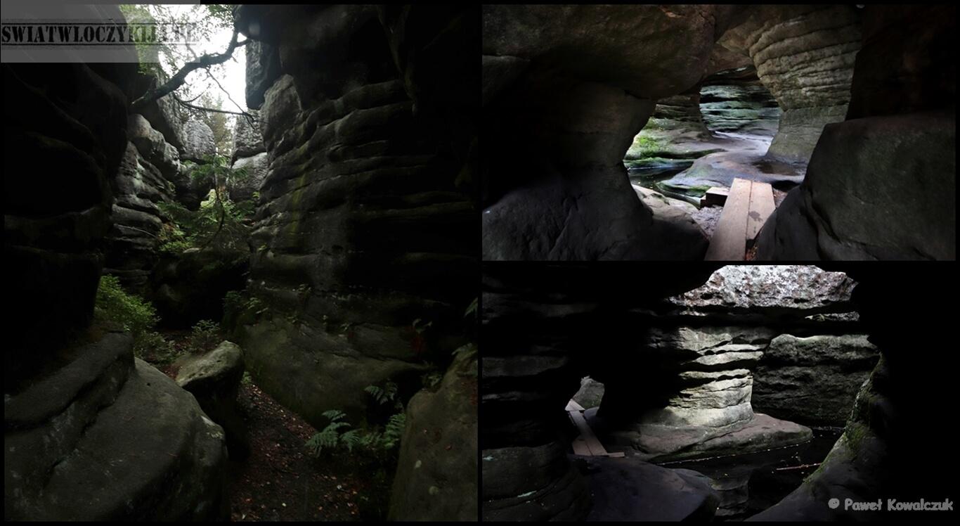 kolarz Błędne Skały. Na zdjęciu 4 fotografie fragmentów labiryntu na terenie Błędnych Skał